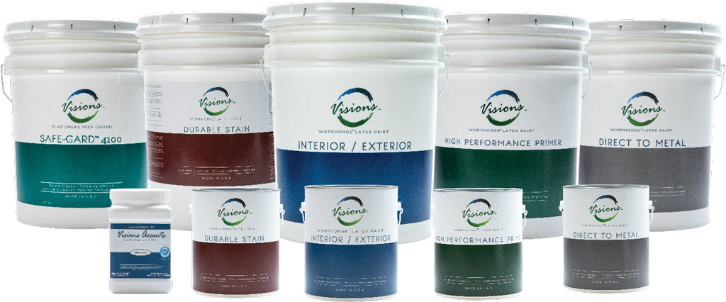 a group photo of all paint buckets and paint cans sold by VQC